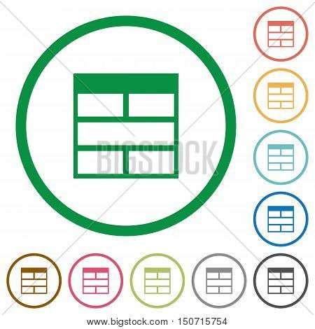 Set of Spreadsheet horizontally merge table cells color round outlined flat icons on white background