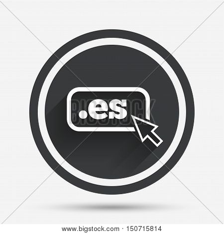 Domain ES sign icon. Top-level internet domain symbol with cursor pointer. Circle flat button with shadow and border. Vector