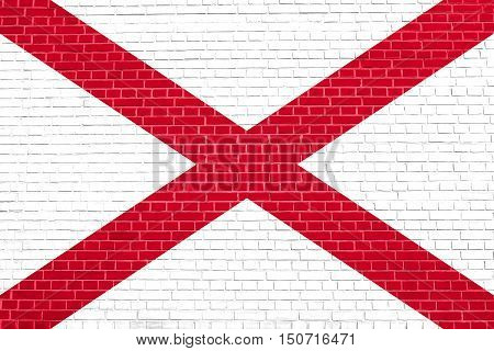 Alabamian official flag, symbol. American patriotic element. USA banner. United States of America background. Flag of the US state of Alabama on brick wall texture background, 3d illustration