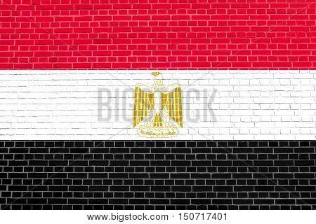 Egyptian national official flag. Arab Republic of Egypt patriotic symbol banner element background. Flag of Egypt on brick wall texture background, 3d illustration