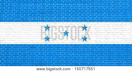 Honduran national official flag. Republic of Honduras patriotic symbol banner element background. Flag of Honduras on brick wall texture background, 3d illustration