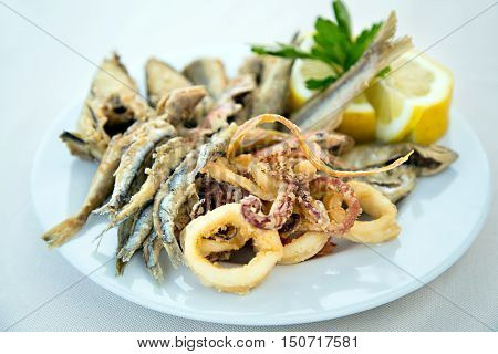 Mixed fried fish with anchovy, squids and shrimps