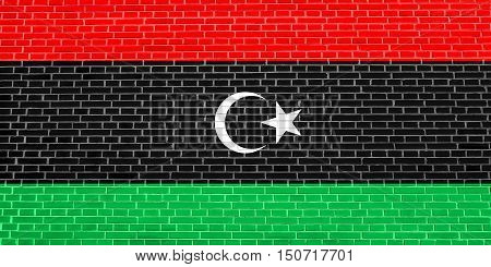 Libyan national official flag. African patriotic symbol banner element background. Flag of Libya on brick wall texture background, 3d illustration