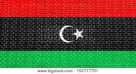 Libyan national official flag. African patriotic symbol banner element background. Flag of Libya on brick wall texture background, 3d illustration