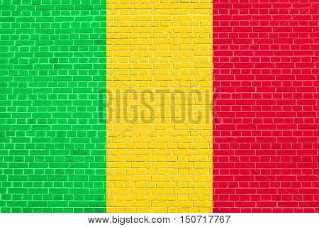 Malian national official flag. African patriotic symbol banner element background. Flag of Mali on brick wall texture background, 3d illustration