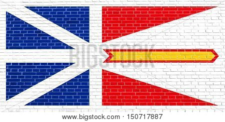 Canadian provincial NL patriotic element and official symbol. Canada banner and background. Flag of the Canadian province of Newfoundland and Labrador on brick wall texture background, 3d illustration