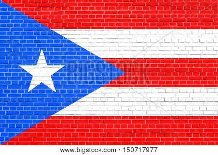Puerto Rican national official flag. Patriotic symbol banner element background. Flag of Puerto Rico on brick wall texture background, 3d illustration