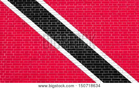 Trinidadian and Tobagonian national official flag. Patriotic symbol banner element background. Flag of Trinidad and Tobago on brick wall texture background, 3d illustration