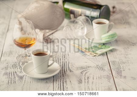 Payment of the prostitute on table with bra