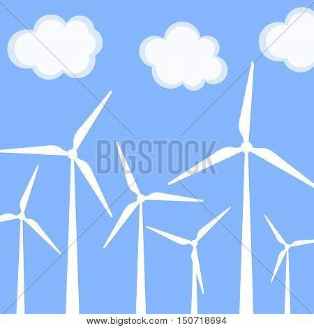 Wind turbine vector illustration. Windmill. Wind turbine landscape illustration.
