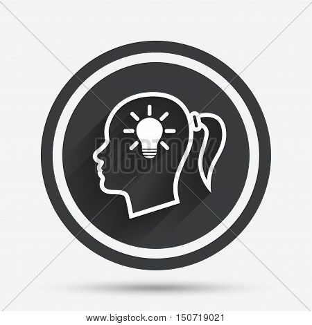 Head with lamp bulb sign icon. Female woman human head idea with pigtail symbol. Circle flat button with shadow and border. Vector
