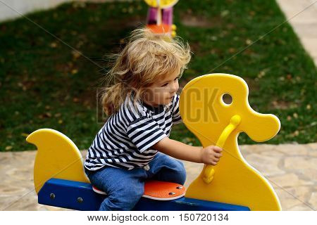 Baby Boy On Duck Swing
