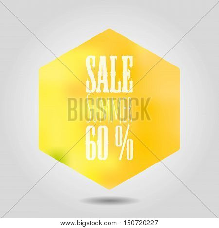 Vector summer sale icon in hexagonal shape. Yellow gradient mesh hexagon with rounded corners and white text label and numbers on grey background with shadow.