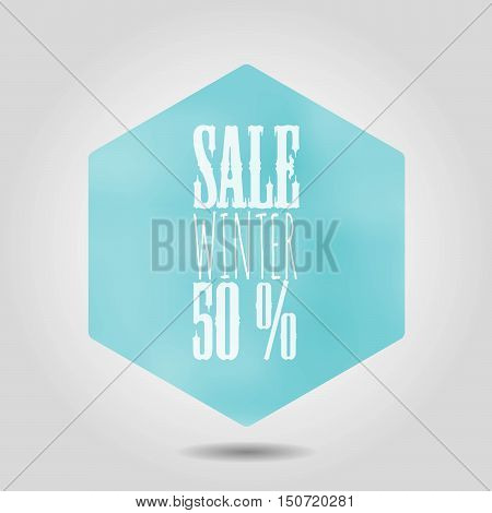 Vector spring sale icon in hexagonal shape. Blue gradient mesh hexagon with rounded corners and white text label and numbers on grey background with shadow.