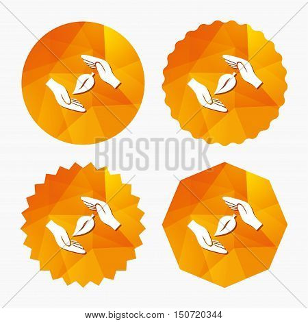 Protection of nature sign icon. Environmental protection symbol. Hands protect cover leaf icon. Triangular low poly buttons with flat icon. Vector