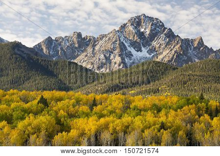 Autumn image of Mt. Sneffels in the San Juan Mountains is Southwest Colorado