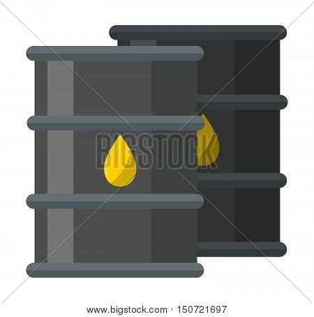Oil reservoir or oil tank energy steel tower, oil tank technology station vector. Big industrial oil tanks in a refinery fuel industry container flat vector illustration. Gas oil tank