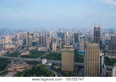 SHANGHAI - AUG 7, 2015: Tomorrow square among high buildings, 990 skyscrapers are in Shanghai