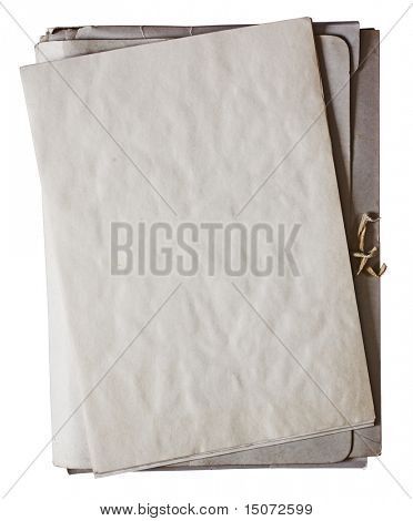 old folder with stack of old papers isolated on white background with clipping path