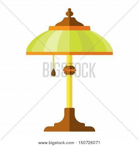 illustration of table lamp. Vector cartoon table lamp design. Cartoon lamp table object electricity art. Illumination switch shiny cartoon lamp.