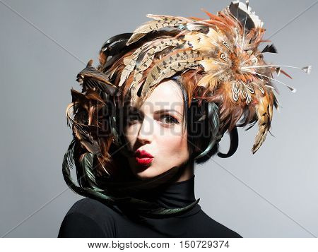 Pretty Sexy Woman In Feather Hat