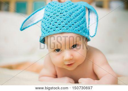 Boy Baby In Bunny Hat