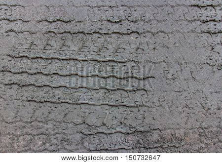 Bulldozer tracks on a surface of fine sand