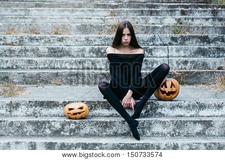 Halloween Sexy Girl With Pumpkin