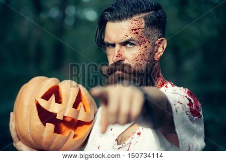 Halloween Man With Pumpkin And Blood