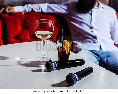 Microphone And Nonalcoholic Cocktail
