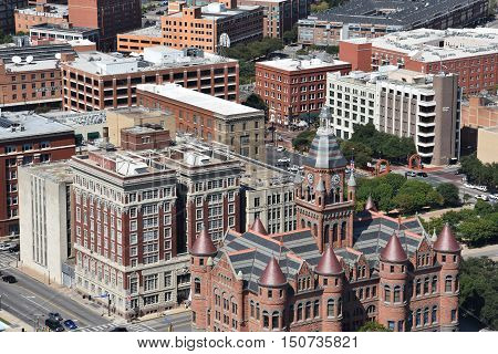 DALLAS, TX - SEP 17, 2016: Old Red Museum, formerly Dallas County Courthouse in Dallas, Texas, as seen on Sep 17, 2016. It was built in 1892 of red sandstone rusticated marble accents.