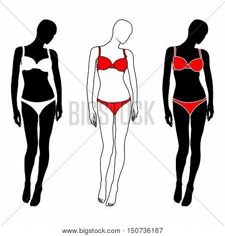Isolated woman silhouette in white and red lingerie on white background. Vector illustration Eps10 file.