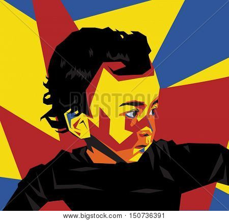 Colorful vector illustration of a lively young boy