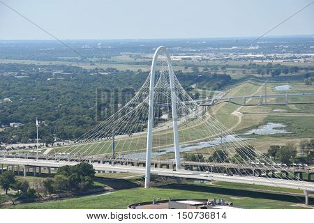 DALLAS, TX - SEP 17: View of Margaret Hunt Hill Bridge from the Reunion Tower Observation Deck in Dallas, Texas, as seen on Sep 17, 2016. The cable-stayed bridge cost $117 million to build.