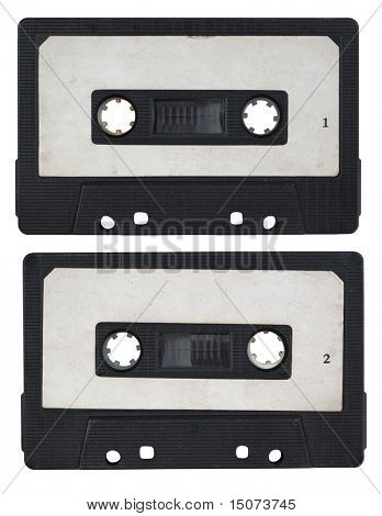 audio cassette isolated on white background. side 1 and 2