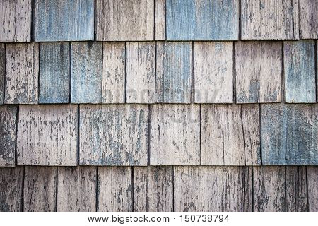 horizontal background image beige and blue of wood chip siding ideal for copy space.