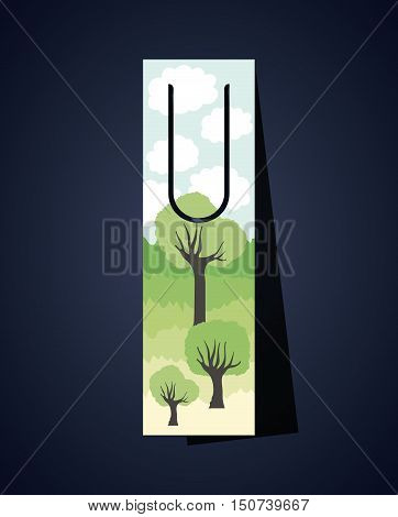 Bookmark with clouds and trees icon. Guidebook decoration reading and literature  theme. Colorful design. Vector illustration