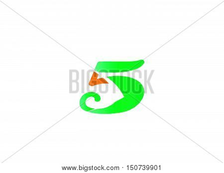 Abstract icons for number 5 logo .Number logo icon design template elements