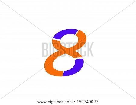 Vector sign spherical number 8.Number logo icon design template elements