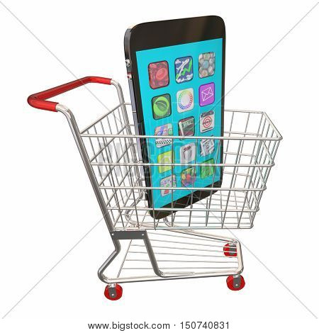 New Cell Phone Shopping Cart Buy Sale 3d Illustration