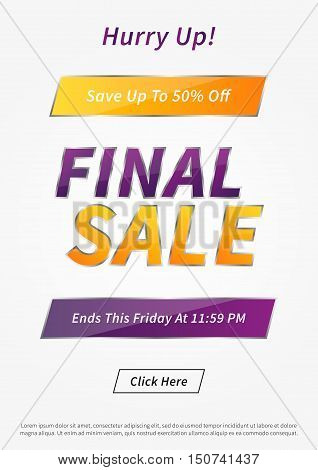 Banner Final Sale vector illustration. Poster Final Sale creative concept for websites retail stores advertising. Banner layout Final Sale A4 size ready to print.