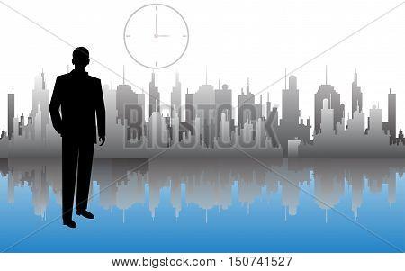 Businessman Executive Business Man over City Skyscraper Flat Vector Illustration.