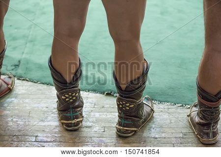 traditional shoes of a mongolian wrestler in Ulaanbaatar, Mongolia