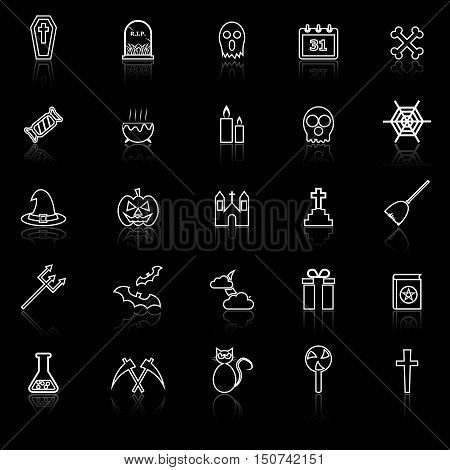Halloween line icons with reflect on black background, stock vector
