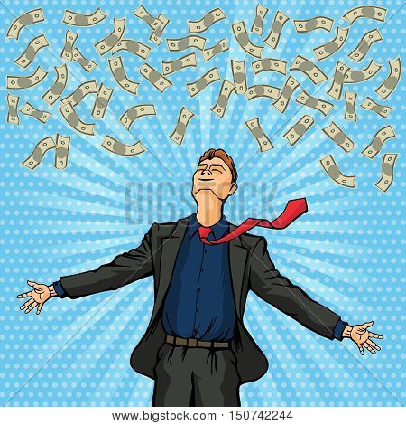 Happy man throws money at the top. Vector illustration
