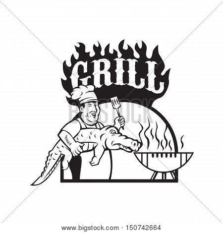 Black and white sytle illustration of a chef smiling carrying alligator in one hand and holding spatula in the other hand cooking with bbq grill viewed from front set inside half circle with the word text Grill done in cartoon style.
