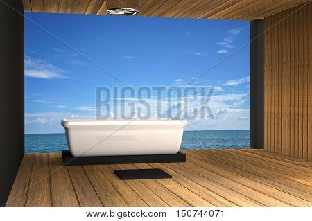 3D rendering : illustration of Jacuzzi bath take at wooden room outdoor style sea view