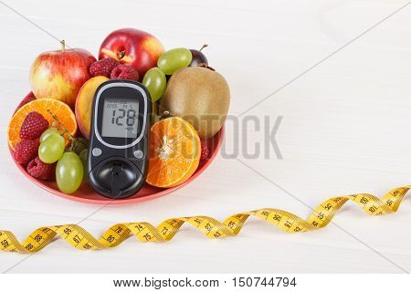 Glucometer, Fresh Fruits On Plate And Centimeter, Diabetes And Healthy Nutrition, Copy Space For Tex