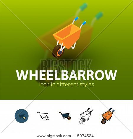 Wheelbarrow color icon, vector symbol in flat, outline and isometric style isolated on blur background