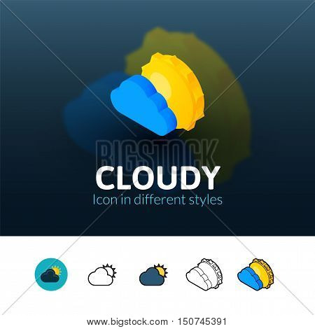 Cloudy color icon, vector symbol in flat, outline and isometric style isolated on blur background